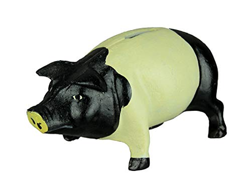 HomeOffice Black & White Iron Piggy Bank 7 Inch