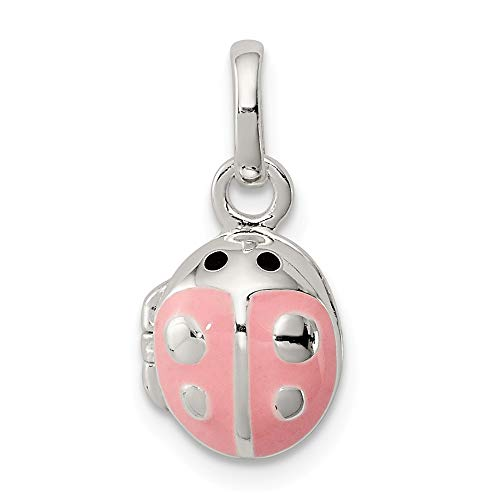 Jewelry Stores Network Sterling Silver Pink Enamel Ladybug Locket Pendant