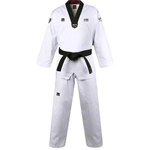 Mooto Korea Taekwondo BS4.5 Kukkiwon Uniform Black Neck TKD MMA Martial Arts Karate Hapkido Judo JIU-Jitsu (180(Height:180~189cm)(5.90~6.20ft))