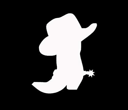 Makarios LLC Cowboy Boot hat spur Cars Trucks Vans Walls Laptop MKR| White |5.5 x 4.5|MKR657