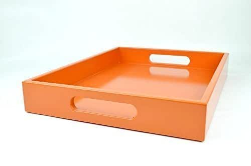 Large Coffee Table Ottoman Tray With Handles Orange Handmade