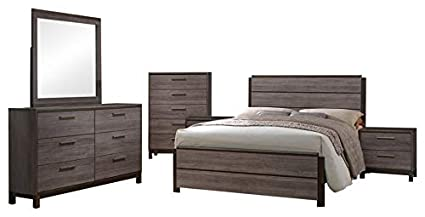 Amazon.com: Dansville 6 Piece Bedroom Set, King, Antique ...