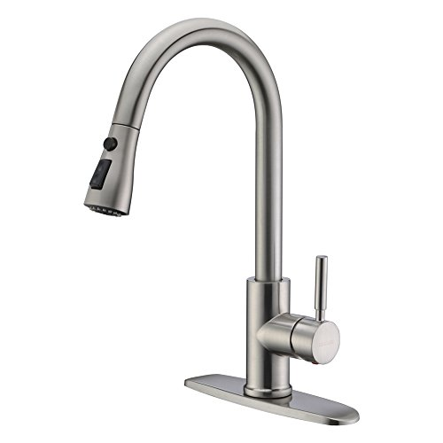 WEWE Single Handle High Arc Brushed Nickel Pull out Kitchen Faucet,Single Level Stainless Steel Kitchen Sink Faucets with Pull down Sprayer (Deck Gooseneck Faucet Nozzle Mount)
