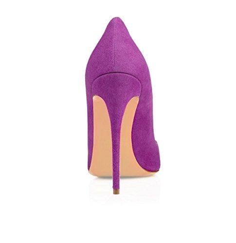 Chaussures Haut Stilettos Aiguille Violet Femmes Grande Escarpins High Taille Heels 120mm Suède Sexy Talon Ubeauty vzqBwYS