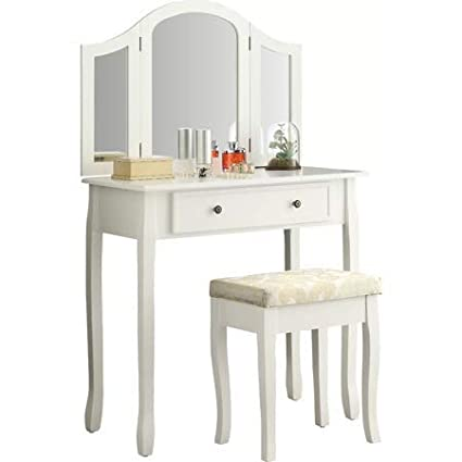 Amazon.com: Hand-Applied Bright White Bedroom Vanity, Make Up Table ...