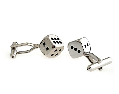 - Covink Rhodium Plated Classic Personalized Lucky Dice Shirts Men's Cufflinks Silver Black Jewelry
