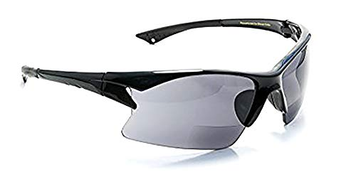 Bifocal Reading Sunglasses with Polycarbonate Lens for Sport, Cycling, Running, Fishing Men and Women Wrap-Around Magnifier Sun Readers UV 400 by FLORIDA GLASSES® (Strength +2.00)