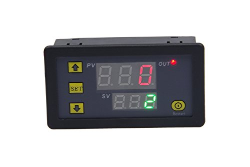 (23-26V) Automotive Relay Switch, Digital Time Delay Relay Board with Dual-color (Red+Green) LED Display, On-Off Delay Timer Switch Support Cycle of Time for Car Vehicle ()