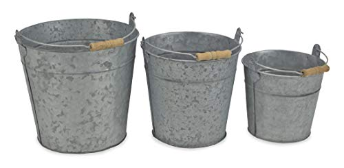 (Cheung's FP-3743-3 Set of 3 Galvanized Metal Bucket with Natural Wood Grip Handle, Gray, 3 Piece)
