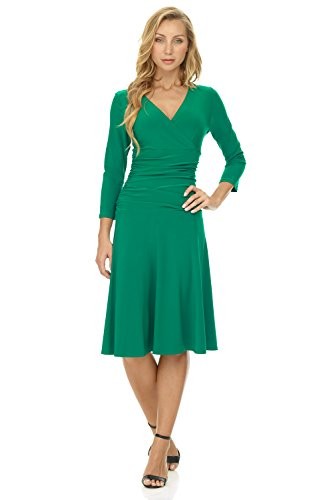 Rekucci Women's Slimming 3/4 Sleeve Fit-and-Flare Crossover Tummy Control Dress (6,Emerald)