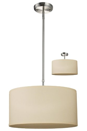 Z-Lite 171-16C-C Albion Three Light Pendant, Metal Frame, Brushed Nickel Finish and Off White Linen Fabric Shade of Fabric Material