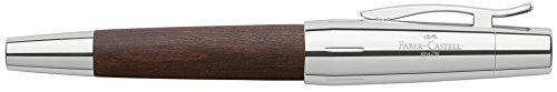 Faber Castell Pearwood Barrel - Faber Castell e-Motion Wood and Polished Chrome Ftn Pen-Med DBR