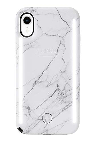 pretty nice ae02f 7e443 LuMee Duo Phone Case, White Marble | Front & Back LED Lighting, Variable  Dimmer | Shock Absorption, Bumper Case, Selfie Phone Case | iPhone XR Only