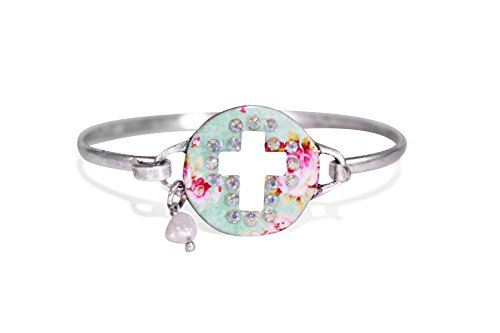 Wonderent Twinkle Bordered Cross Cutout Floral Disc Christian Bangle Bracelet with Wire Design and Pearl Bead By Burnish Silver - Floral Design Bangle
