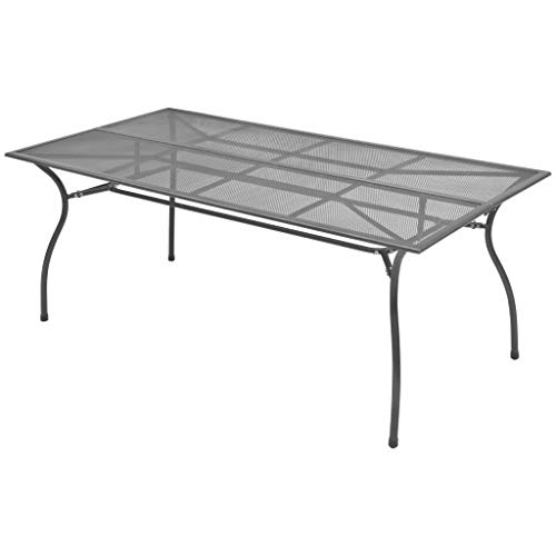Festnight Outdoor Patio Dining Table Steel Mesh Weather Resistant 70.9″x35.4″x28.3″