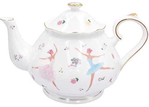 - Zealax Floral Fine Bone China Teapot British Tea Pot, Ballet Dancer Girls, 37oz / 1100ml