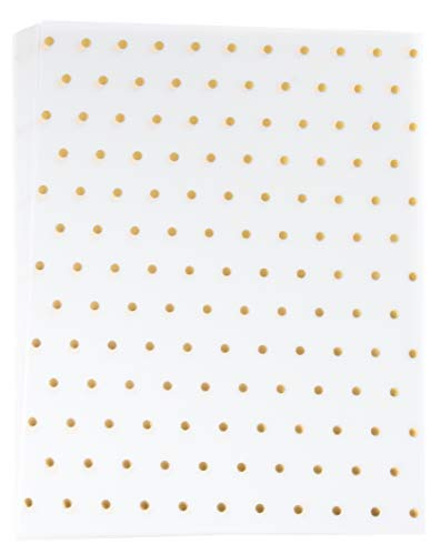 Vellum Paper - 24-Pack Gold Foil Polka Dot Pattern Translucent Stationery Invitation Paper, Single Sided, Printer Friendly, Great for Scrapbooking, Announcement, Crafting, 8.5 x 11 Inch Letter Size ()