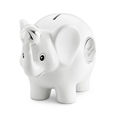 Things Remembered Personalized White Ceramic Elephant Bank, Toy Bank with Engraving Included