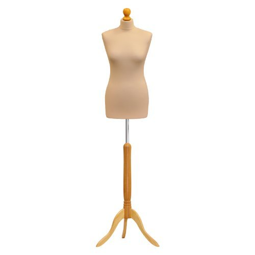 Female Tailors Dummy Cream Size 8/10 Dressmakers Fashion Students Mannequin Display Bust With A Light Wood Base by LUK-MAL -  2372946