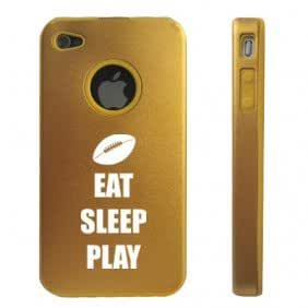 Apple iPhone 4 4S 4 Gold D3729 Aluminum & Silicone Case Cover Eat Sleep Play Football