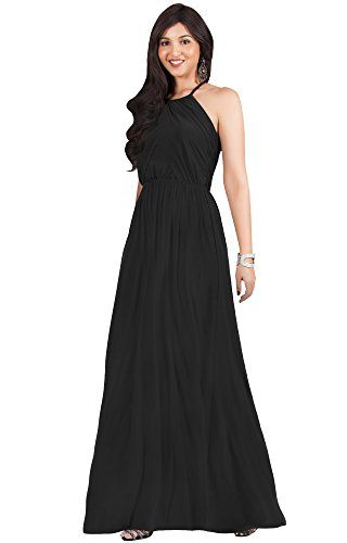 Tie Back Floor - KOH KOH Womens Long Bridesmaid Sleeveless Cocktail Evening Prom Formal Special Occasion Floor-Length Beach Wedding Party Guest A-Line Flowy Gowns Maxi Dresses, Black M 8-10