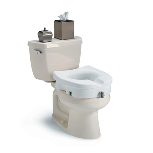 Supports Long Seating and Adds Comfort Lightweight Large Invacare Premium Clamp-on Raised Toilet Seat - Tool Free Placement