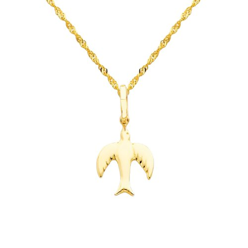 Wellingsale 14k Yellow Gold Polished Flying Bird Charm Pendant with 1.2mm Singapore Chain Necklace - (Yellow Gold Bird Charm)