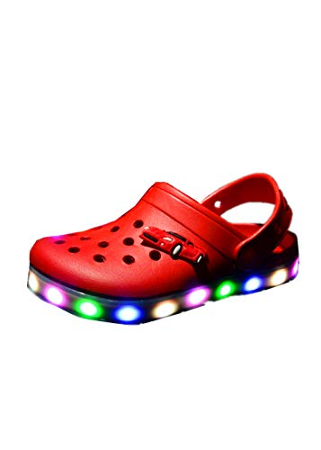 LED Light Shoes Cartoon Hole Children's Shoes Hollow Baby Sandals and Slippers(red,24)]()