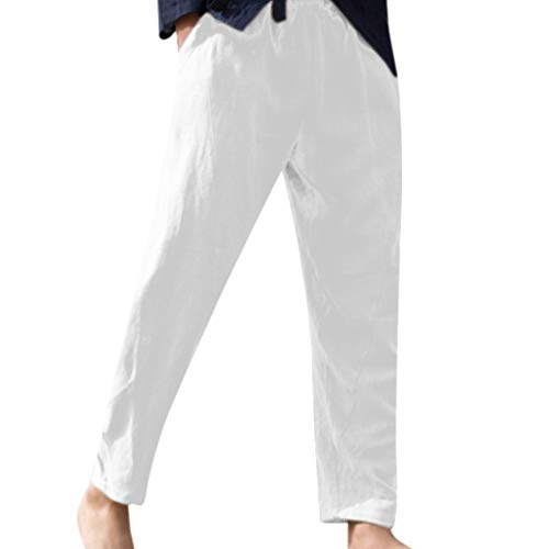 - Men's Vintage Drawstring Pants Summer Casual Solid Long Trousers