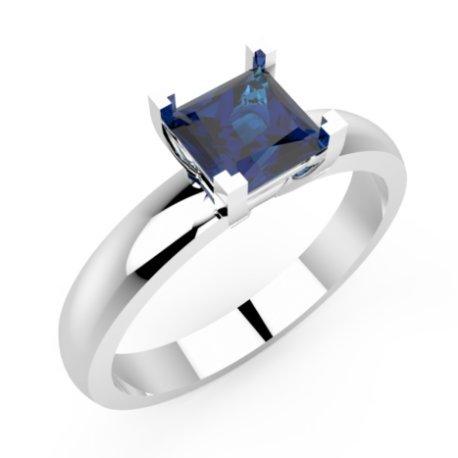 MINA Bagues Platine Saphir Bleu 0,6 Princesse