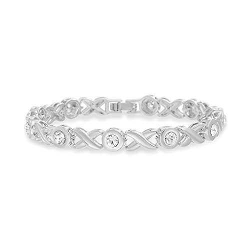 Devin Rose X and O Style Tennis Bracelet for Women Made with Swarovski Crystals in Rhodium Plated Brass ()