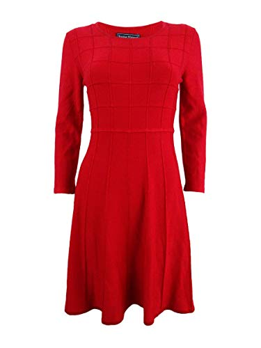 Jessica Howard Womens Missy Scoop Neck 3/4 Sleeves Sweaterdress Red XL