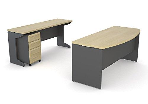 Ameriwood Home Pursuit Office Set with Mobile File Cabinet Bundle, Natural