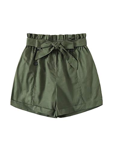 (WDIRARA Women's Casual Double Breasted Belted Elastic Waist Paperbag Shorts Army Green XL )