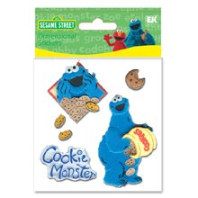 Sesame Street 3D Stickers-Cookie Monster Furry
