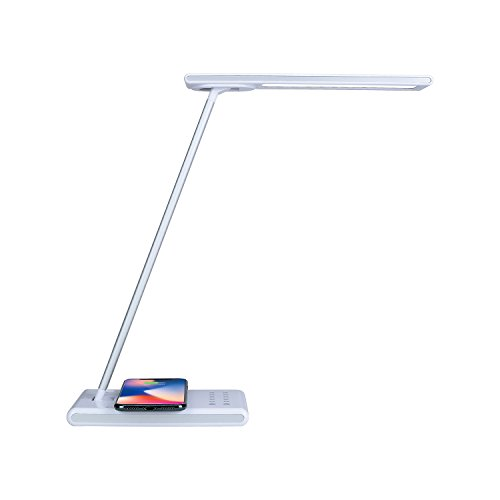 Work Lamp Ultra Beam - White Dimmable LED Light Desk Lamp with USB & Wireless Charging Ports – Adjustable Brightness & Color Temperature Bulb - Multi Directional Lighting – Energy Efficient by Dependable Direct