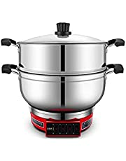 MEIYITIAN Electricity Heat Pan Electric Steamer Multifunction Household 304 Stainless Steel Large Capacity Electric Hot Pot Wok Can Be Used in Kitchen Restaurants