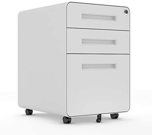 3 Drawer Mobile File Cabinet Pedestal, Metal Locking Letter Filing Cabinet for Home Office and Enterprise with Circular Arc Design On Top White