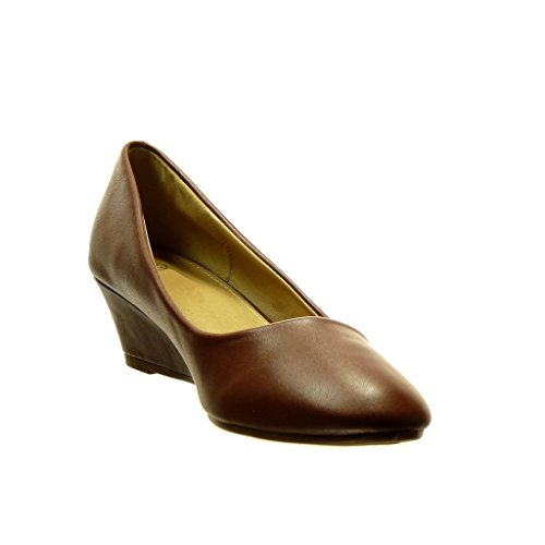 Angkorly - damen Schuhe Ballerina - Slip-On Blockabsatz high heel 5 CM - Braun