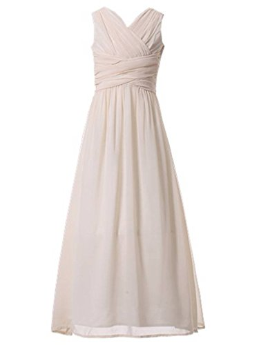 Happy Rose Flower Girl's Dress Party Dresses Juniors Long Bridesmaid Dress Ivory Cream 10