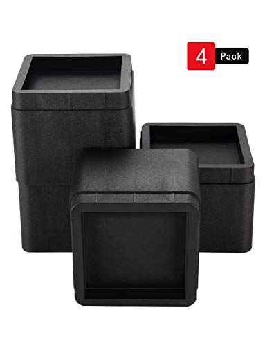 BTSD-home Stackable Bed and Furniture Risers 3 Inch Heavy Duty Bed Lifts for Sofa Couch Chair Table Additional 3 or 6 Inch Height or Storage Black ()