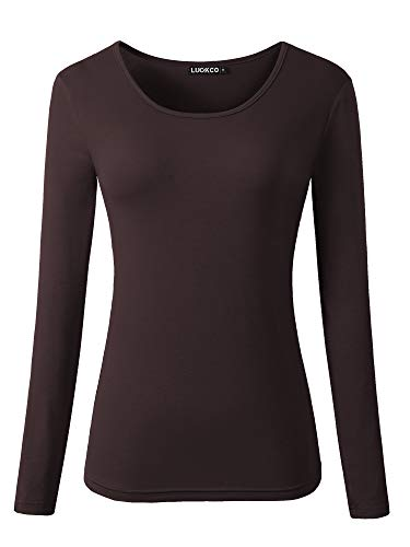 Luckco Women's Long Sleeve Round Neck Slim Fit Basic Layering T-Shirt (Large, ()