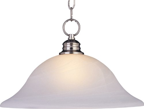 Maxim 91076MRSN Essentials 1-Light Pendant, Satin Nickel Finish, Marble Glass, MB Incandescent Incandescent Bulb , 100W Max., Dry Safety Rating, Standard Dimmable, Glass Shade Material, 10350 Rated Lumens