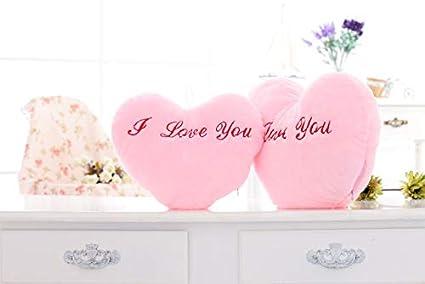 XuBa 36*30cm Luminous Stuffed LED Light Up Plush Glow Pillow Music Playing Auto 7 Color Rotation Illuminated Heart Shaped Cushion Pink