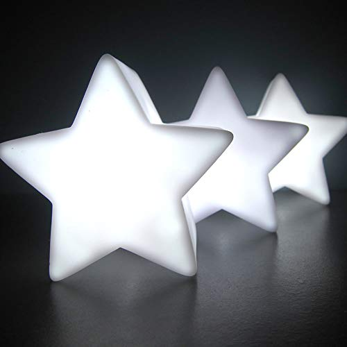 Light Up Centerpiece LED Star Lamps with White Light (Set of 6) - Battery Operated LED Light Up Centerpiece Star Lamps with Glowing White Light (Star Shape)