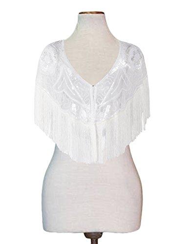 Sequin Embellished Jacket - PrettyGuide Women's Gatsby Cape Sequin Fringed Bolero 1920s Costume Flapper Shawl White