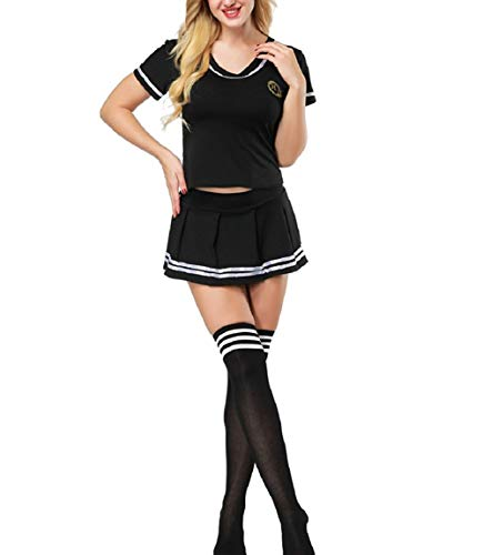 Oludkeph 3PCS School Girl Cheerleader Lingerie Outfit Mini Sailor Suit Fancy Dress with Stockings Plus Size 4XL