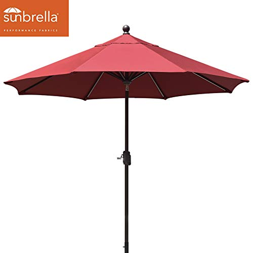 EliteShade Sunbrella 9Ft Market Umbrella Patio Outdoor Table Umbrella with Ventilation (Sunbrella Burgundy) ()