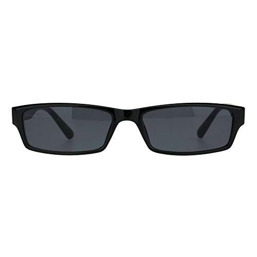 Mens Hippie Pimp Color Lens Narrow Rectangular Black Frame Sunglasses (Black) (Narrow Sunglasses For Men)