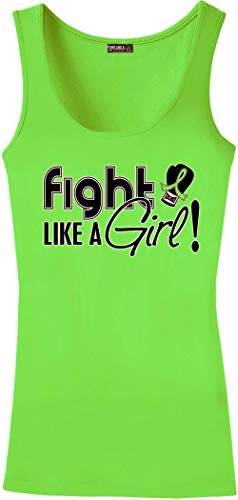 - Fight Like a Girl Signature Ladies Tri-Blend Stretch Tank Top (Assorted Colors) (Small, Lime Green)